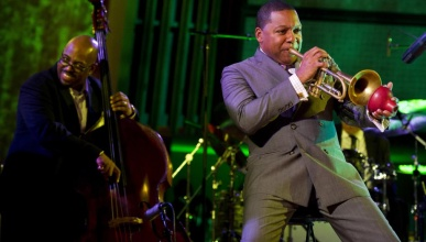 Wynton Marsalis, right,  performs during the International Jazz Day Concert held at the United Nations General Assembly Hall in New York, Monday, April 30, 2012. (AP Photo/Charles Sykes)